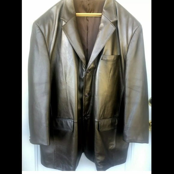J. Ferrar Brown Genuine Leather Mens Sports Coat